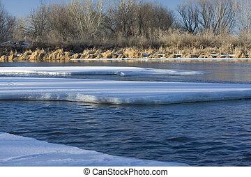 ice on South Platte River, Colorado - partially frozen South...
