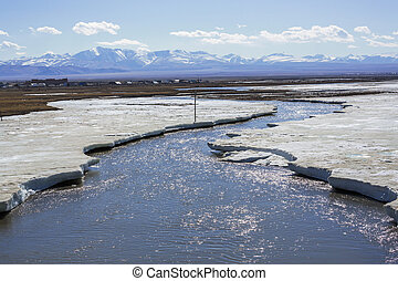 Ice on the river in spring