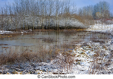 Ice on the river in the winter