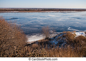 Ice on the thawed river in the spring