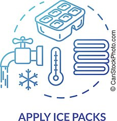 Ice packs applying concept icon. Traumatism ambulance, first...