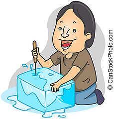 Ice Pick - Illustration of a Man Breaking a Block of Ice