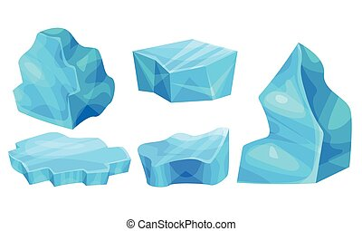 Ice Pieces or Cold Frozen Blocks Vector Set. Blue and Smooth...