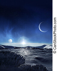 Ice planet - Extraterrestrial planet of icy landscape with...