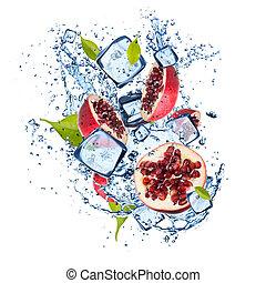 Ice pomegranate on white background