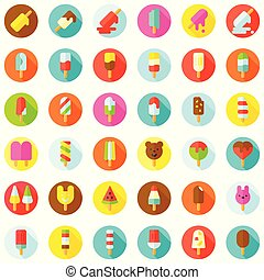Ice pop icon set, filled style editable outline