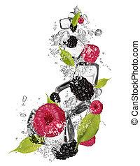 Ice raspberries and blackberries