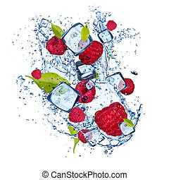 Ice raspberries on white background