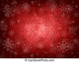 Ice red christmas background with snow and snowflakes