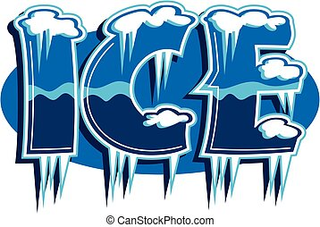ice rendered with snow and icicles for company logo or advertising