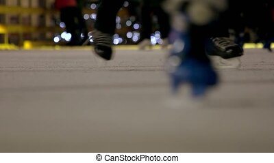 Ice rink close-up. Macro filming an ice rink.