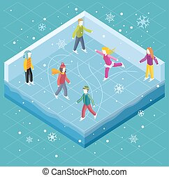 Ice Rink with People Isometric Style - Ice rink with people...