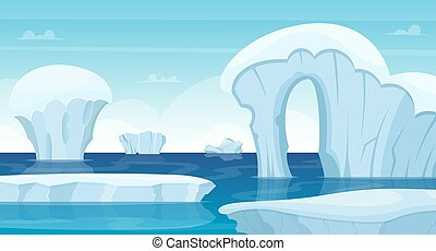 Ice rocks background. North pole landscape white iceberg in ocean winter cold outdoor travel concept vector