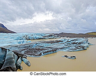 Ice rocks floating on Jokulsarlon lagoon in Iceland