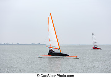 Ice sailing on the Gouwzee in The Netherlands.
