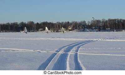 ice sailing people winter