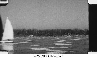 Ice sailing. (Vintage 1930s film)