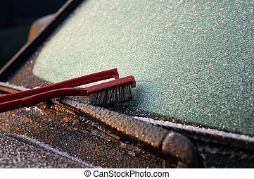 Ice Scrapper on the Windowscreen - Ice on the windscreen and...