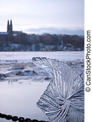 Ice Sculpture 01 - An ice sculpture situated on the banks of...
