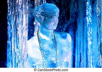 Ice sculpture - Close up shot of frozen woman sculpture