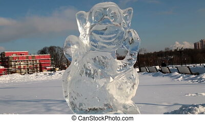 Ice sculpture of a monkey in Tsaritsyno