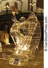 Ice sculpture of angel in the night in Yekaterinburg
