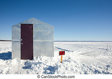 Ice Shanty with Funny Sign