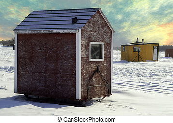 Ice Shed - Temporary shacks used for ice fishing situated on...