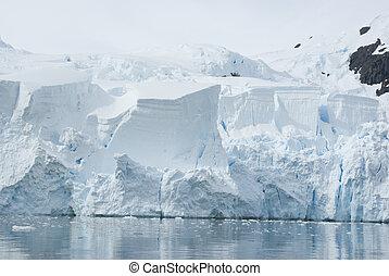 Ice sheet on the Antarctic coast.