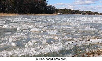 Ice sheets on water