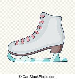 Ice skate boot icon, cartoon style