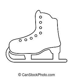 ice skate sport leisure thin line