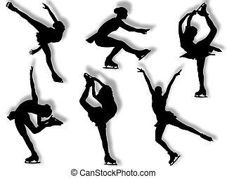 Ice skater silhouettes - Ice skater silhouette in different...