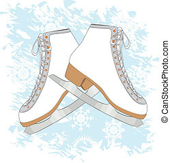 Ice skates background - Grunge blue background with ice...