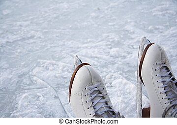 Ice skates outdoors