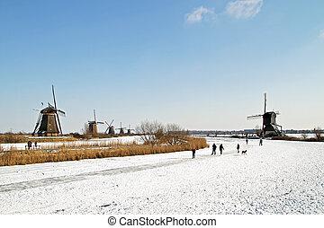 Ice skating at Kinderdijk in the Netherland