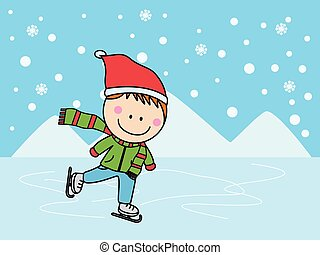 Ice skating boy