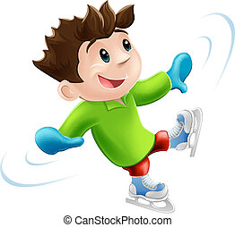 Ice skating cartoon - Cartoon of a young man or boy having a...