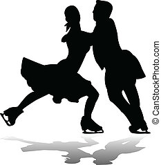 Figure skating silhouette with reflection - vector