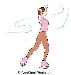 Ice Skating Girl Line Drawing