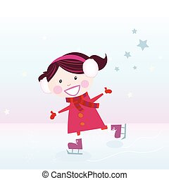 Ice skating girl - Small girl with big smile on ice. Vector...