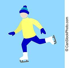 Ice-Skating Happy Man Icon Vector Illustration - Ice-skating...