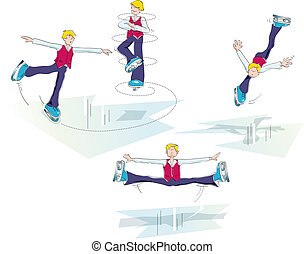 ice skating man - sequences of a skater pirouettes on ice