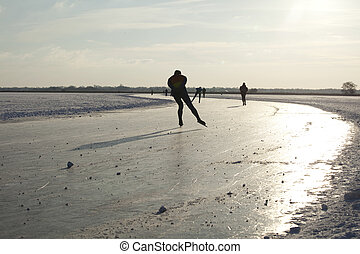 Ice skating on natural ice in the Netherlands