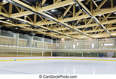 ice skating rink indoors - winter, sport, architecture and...