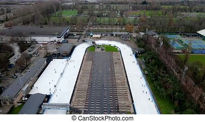Aerial view of an ice skating track rink in Amsterdam, The Netherlands