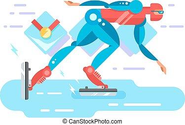Ice speed skater cartoon character