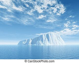ice - Iceberg against blue cloudy sky - 3d illustration
