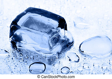 Ice cube and water drops close up