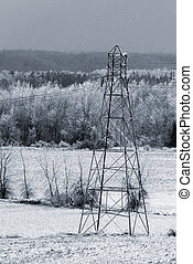 Ice Storm - Aftermath of ice storm with electric tower,...